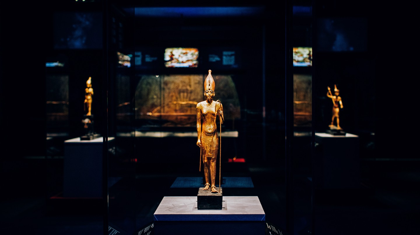 More than 150 ancient artefacts are on display at the 'Tutankhamun: Treasures of the Golden Pharaoh' exhibition at London's Saatchi Gallery