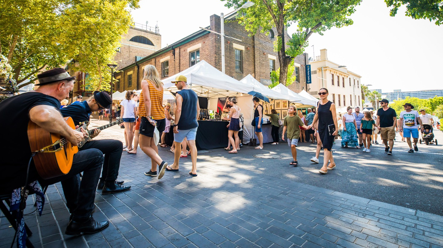 Shop local at one of Sydney's bustling markets like the The Rocks Markets