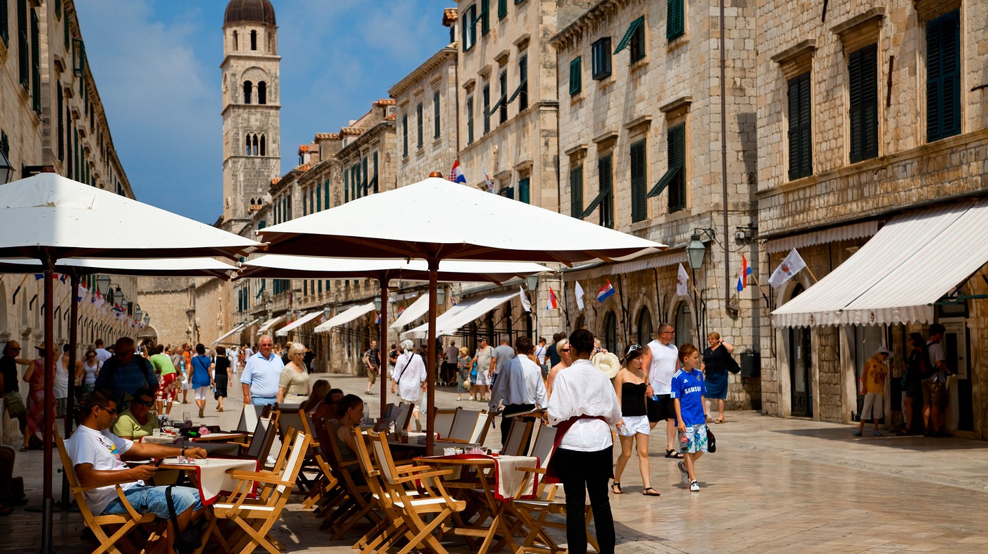 The historical centre of Dubrovnik is flush with street-side cafes