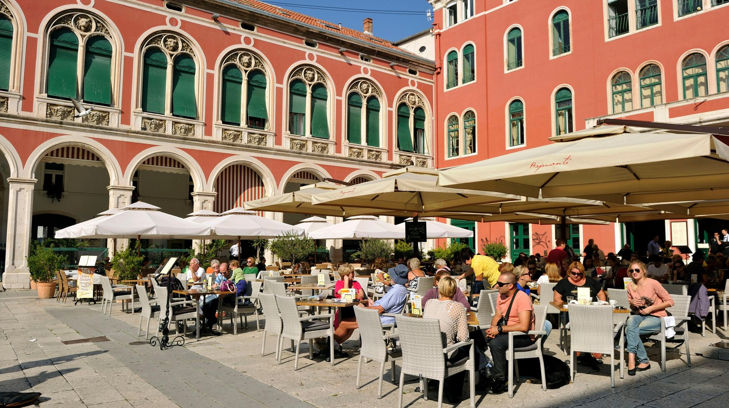 Split's Trg Republike (Republic Square) is filled with restaurants and cafés