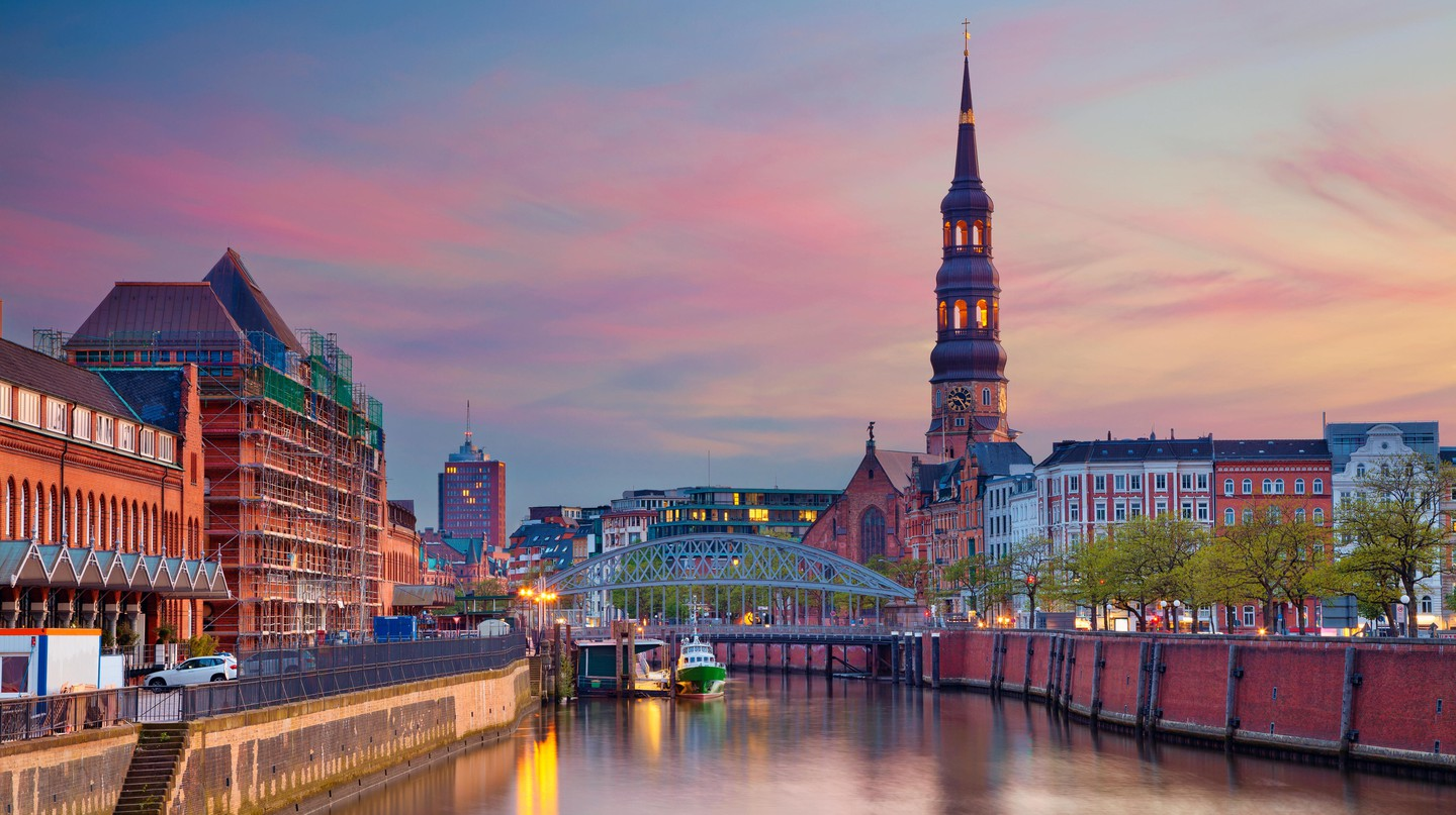 Speicherstadt at sunset, in the bustling trade city of Hamburg