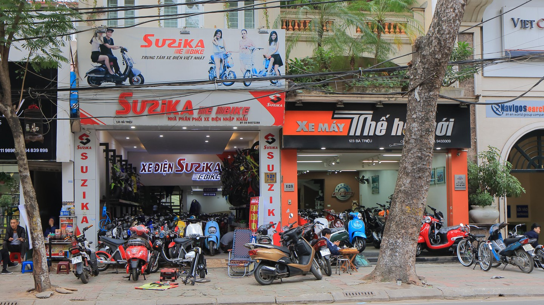 Motorbike shops in downtown Hanoi