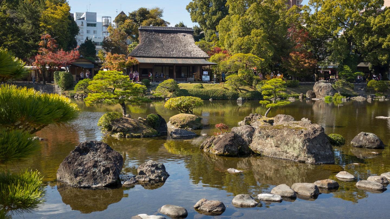 Suizenji Garden, a spacious Japanese style landscape garden in Kumamoto