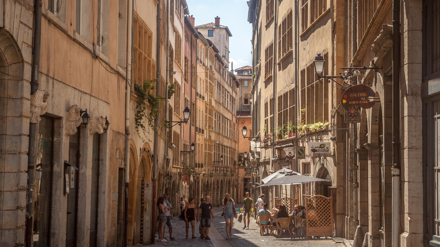 A typical narrow backstreet of Lyon and the perfect spot for a tipple