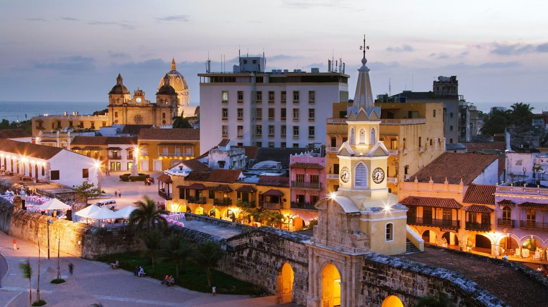 Puerta del Reloj at Dusk, Cartagena, Colombia
