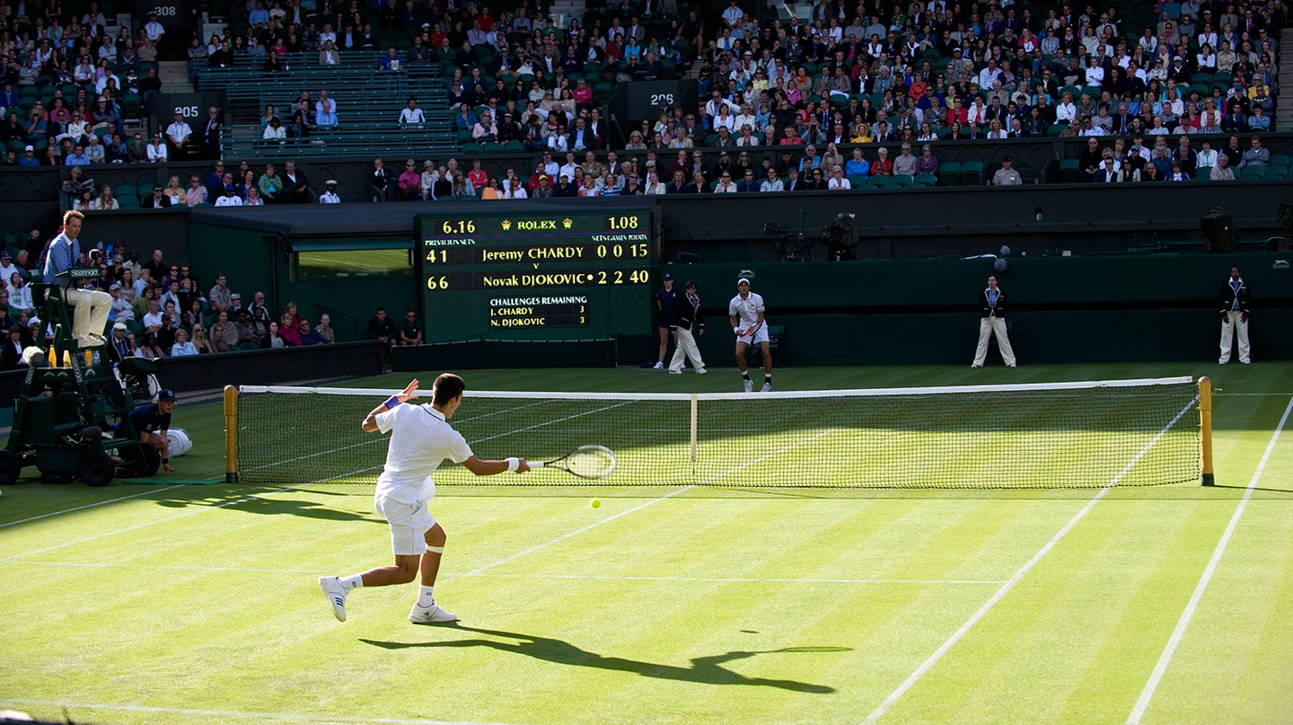 Novak Djokovic demolishes Jérémy Chardy on Centre Court in 2011, winning in straight sets