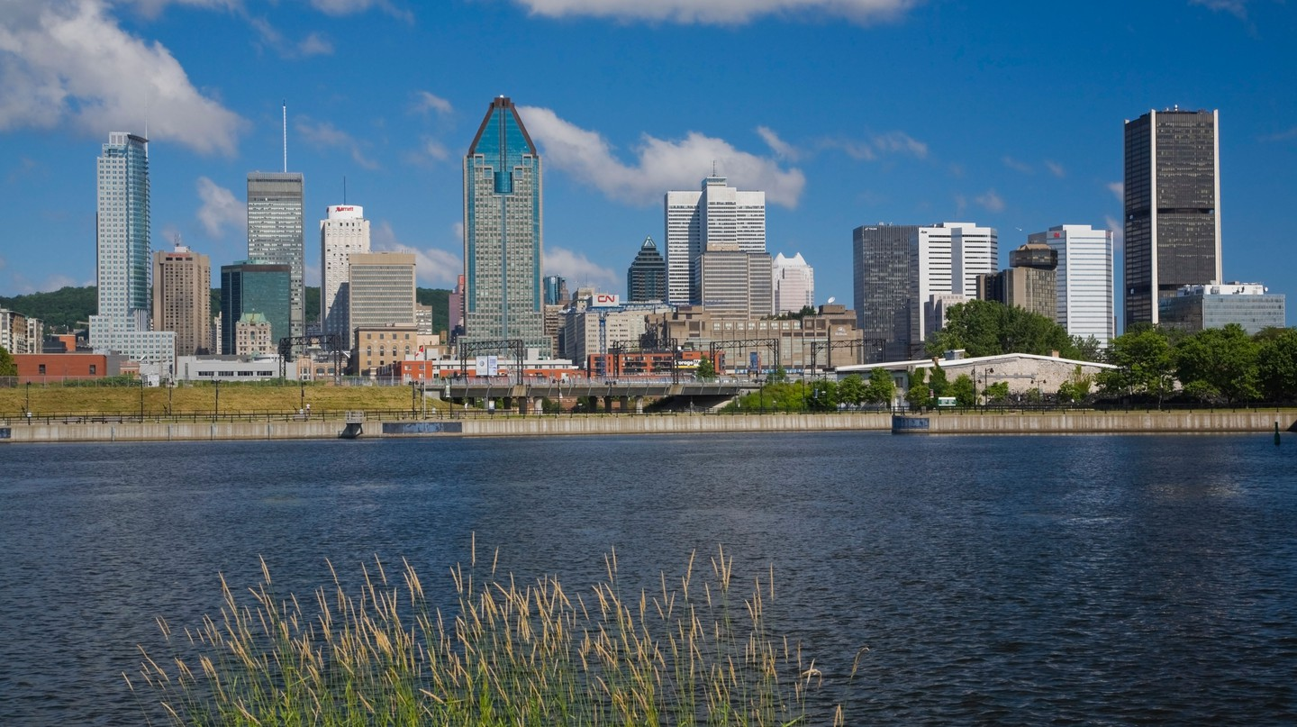 CPYPNR Montreal skyline and Lachine canal, Quebec, Canada