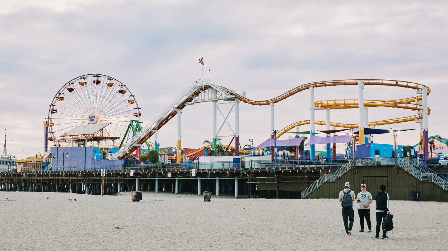 Although the lights are on, access to Santa Monica Pier has been blocked