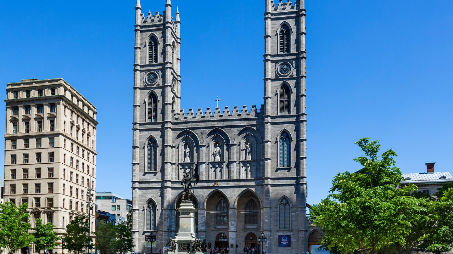 Explore Old Montreal to see beautiful attractions like the Notre-Dame Basilica