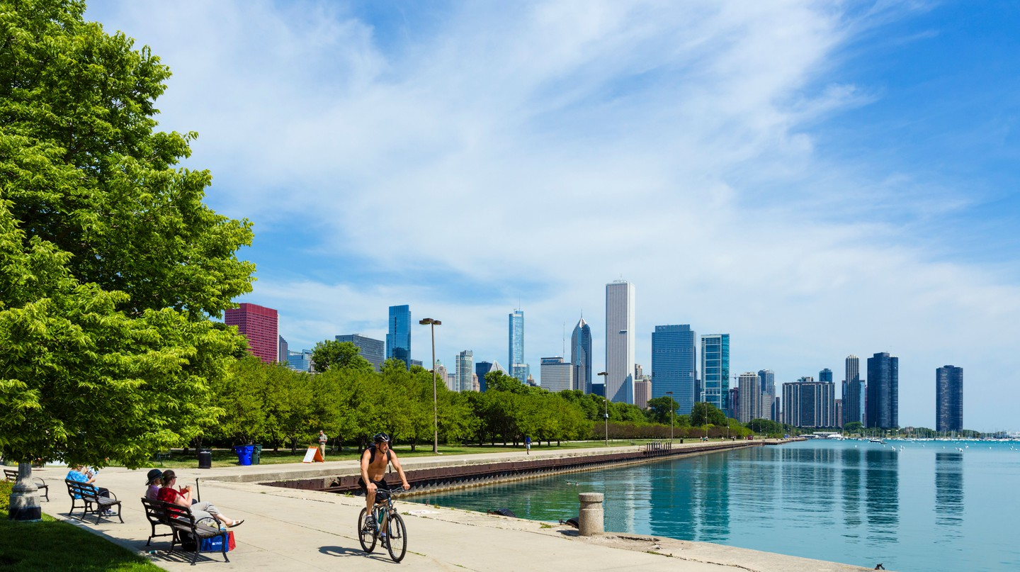 The city skyline from the lakefront in Grant Park, Chicago