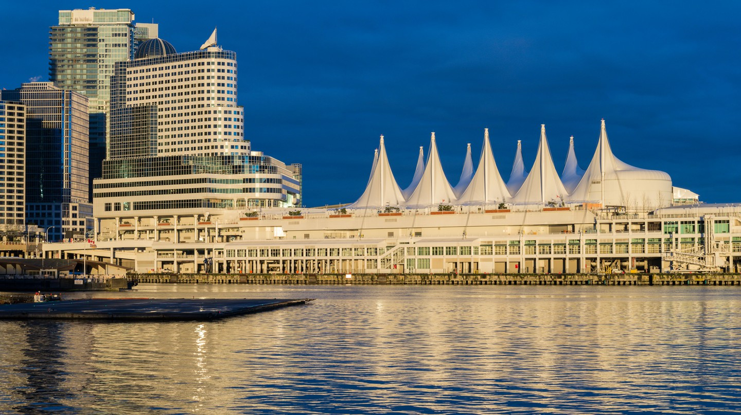 Pan Pacific Hotel and Canada Place at sunrise, Vancouver, British Columbia, Canada