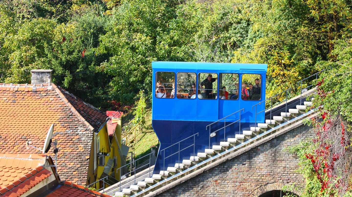 Zagreb's funicular is famed as the world's shortest public railroad
