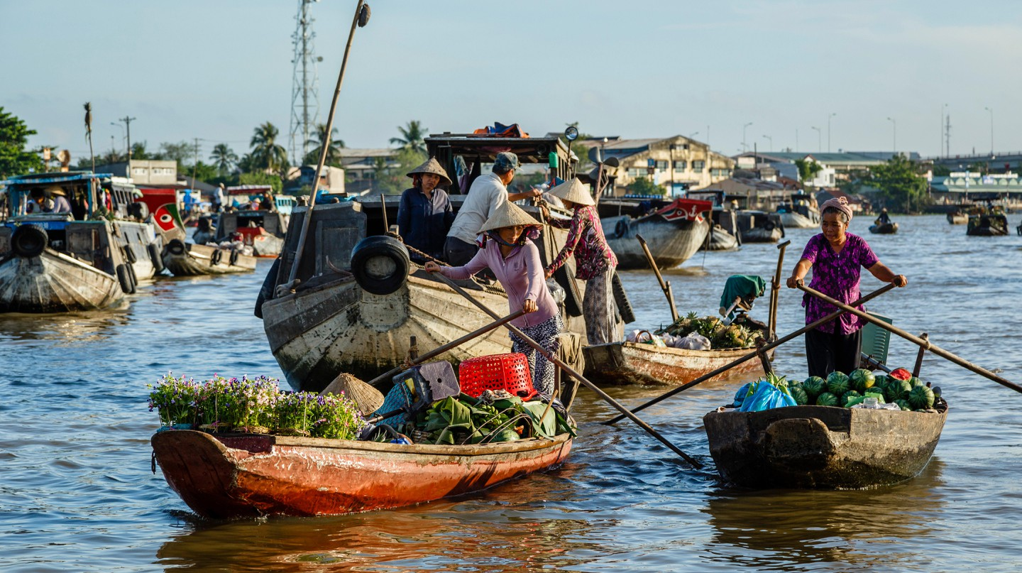The Cai Rang floating market at the Mekong Delta is a must-see when visiting Vietnam |
