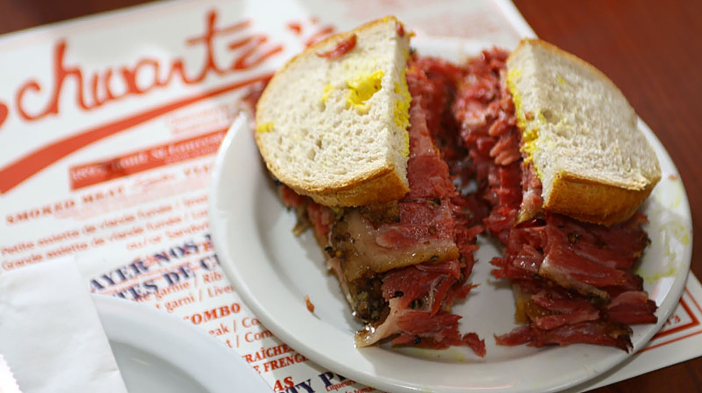 Schwartz's Deli is known for its Montreal-style smoked meat sandwiches
