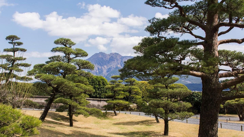The peaceful Sengan-en garden is set against the backdrop of Sakurajima volcano
