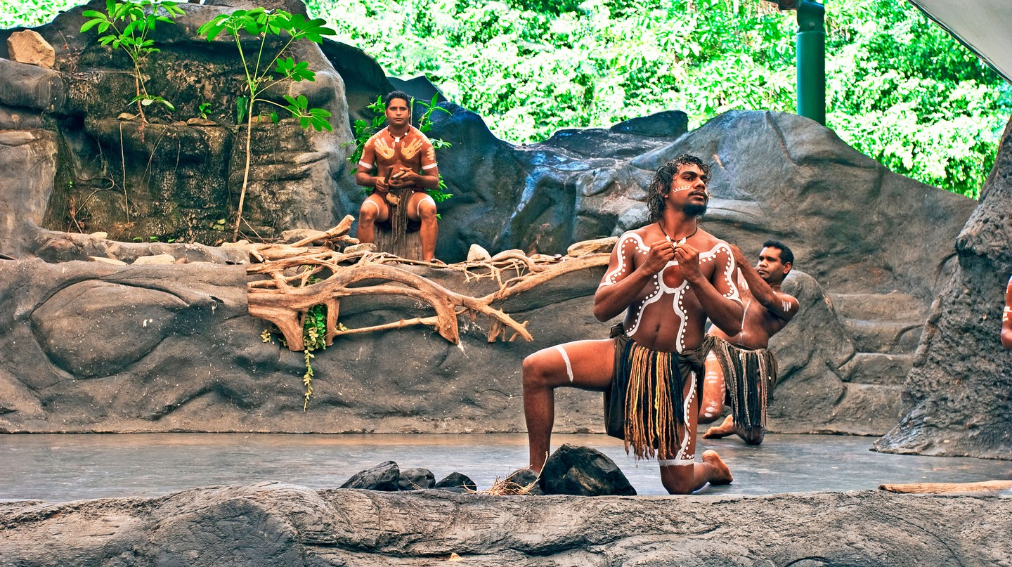 Aboriginal performers on stage at Tjapukai Aboriginal Cultural Park. Indigenous centres are opening up all over Australia to celebrate the culture and heritage of the country's original peoples