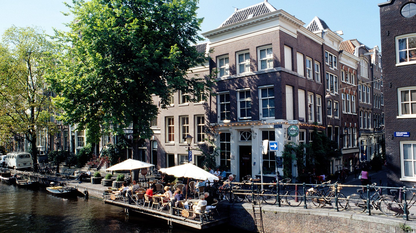 Bar on the canalside in Jordaan area of Amsterdam