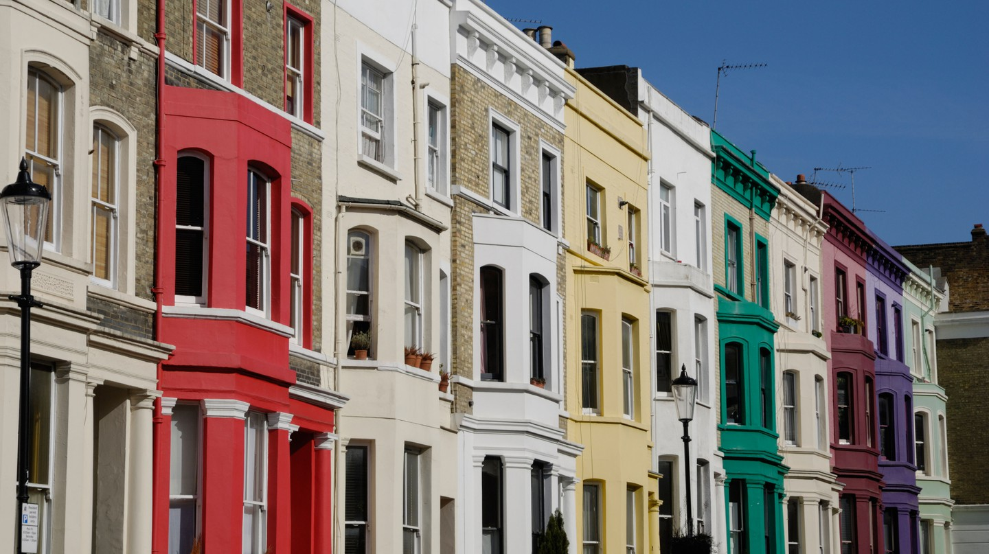 One of Notting Hill's multicoloured streets, reflecting the vibrancy of the area