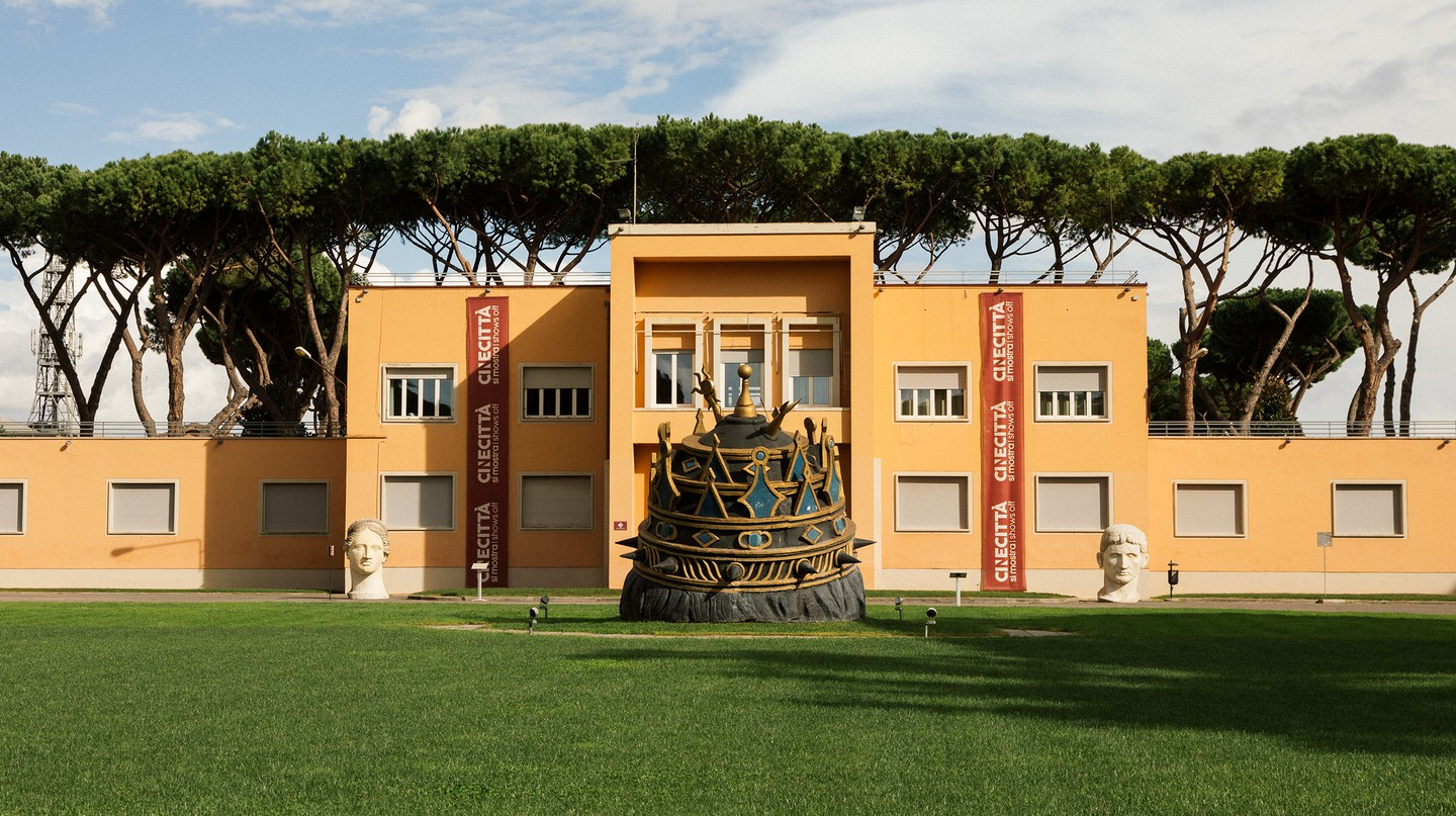 Part of the Cinecittà complex is flanked by props from director Dario Argento's film 'The Stendhal Syndrome' (1996) and the Venusia from Federico Fellini's 'Fellini's Casanova' (1976)