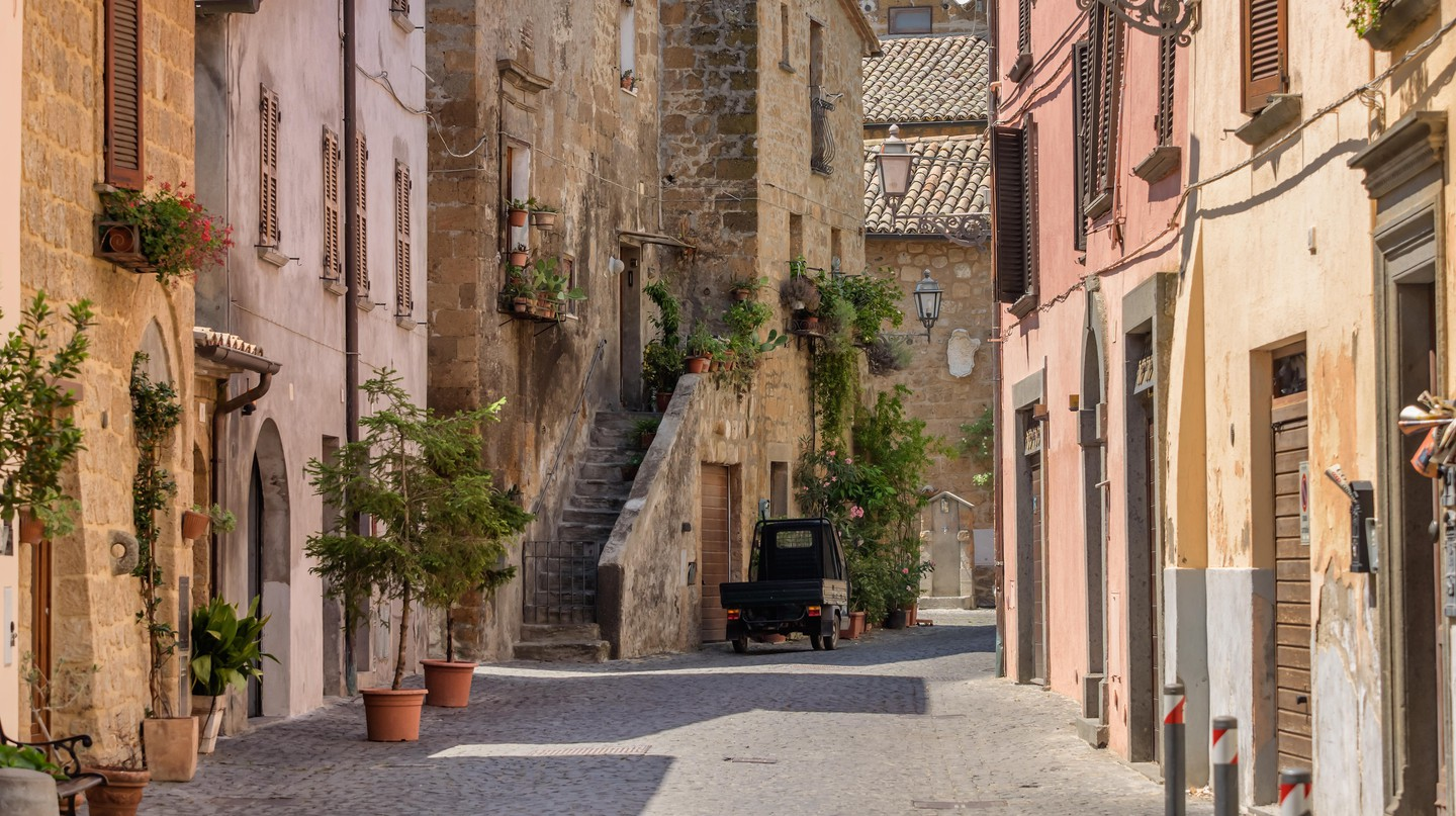 Small streets in Orvieto in Umbria, Italy