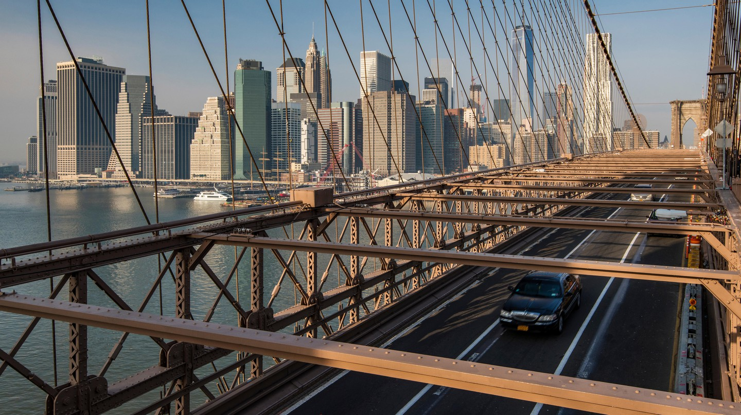 The Lower Manhattan skyline from Brooklyn Bridge