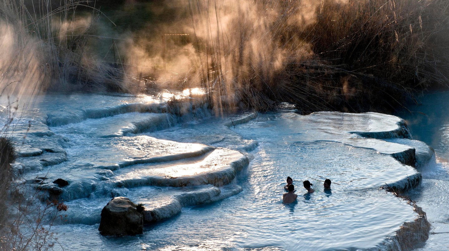 Saturnia thermal baths at dawn, Saturnia, Grosseto province, Tuscany, Italy.