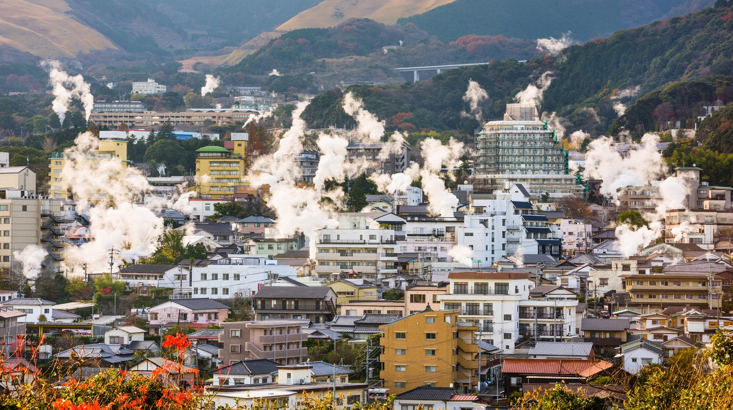 Cityscape with hot spring bath houses, Beppu, Japan