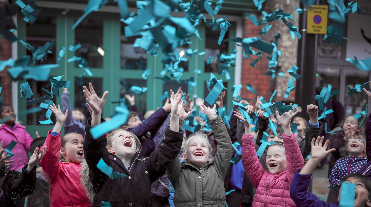 The world's most popular colour of Marrs Green is revealed during the exhibition 'Paper City', Hull, UK
