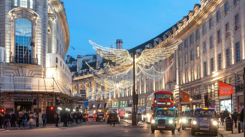 Christmas lights at dusk in Regent Street, Soho