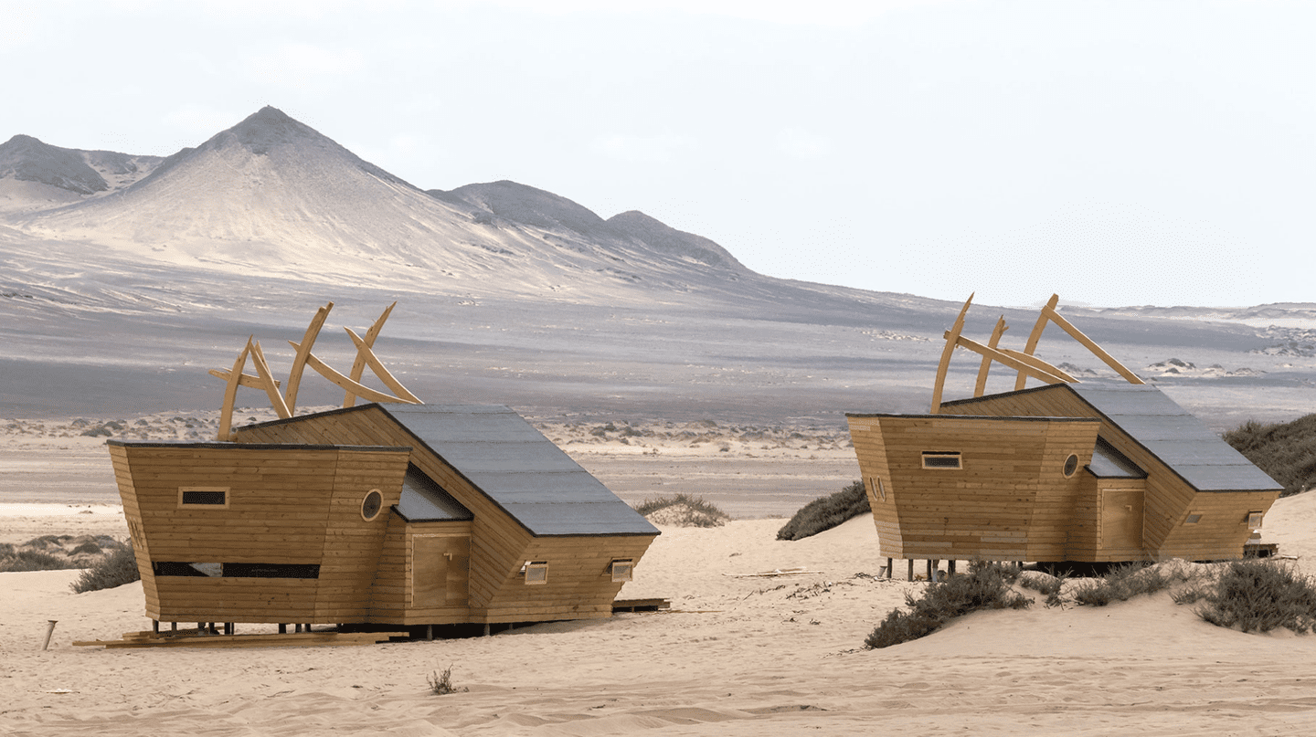 Lodges are built to look like shipwrecks so as to blend in with the Namibian desert