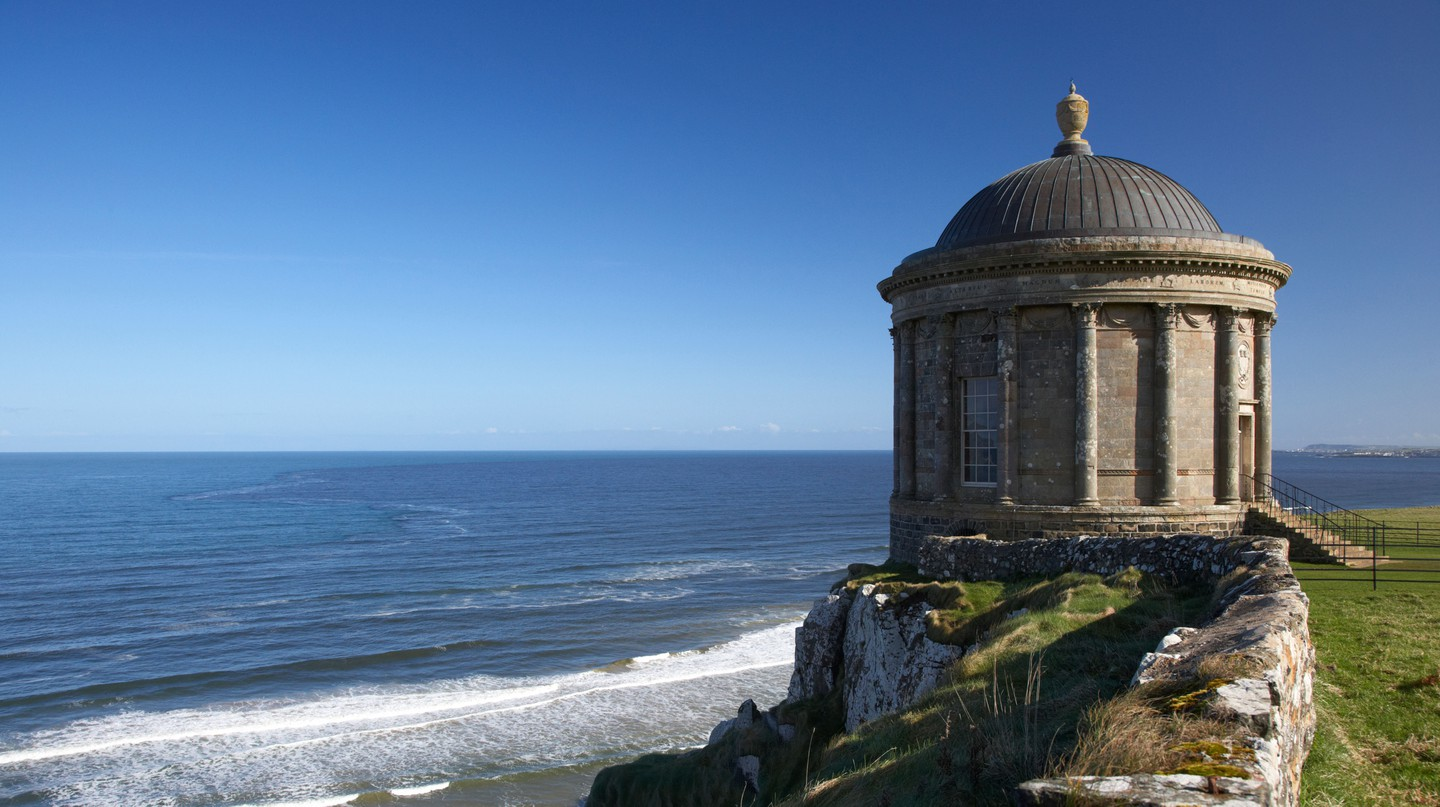 Mussenden Temple overlooking Benone beach, Londonderry, Northern Ireland