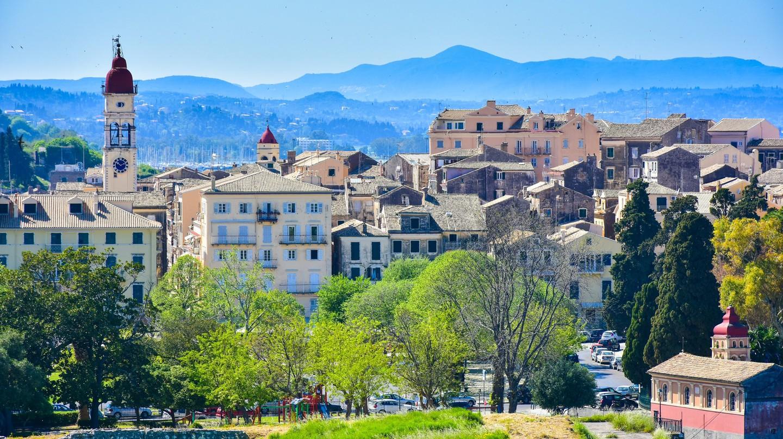 The colourful, serene skyline of Corfu Town