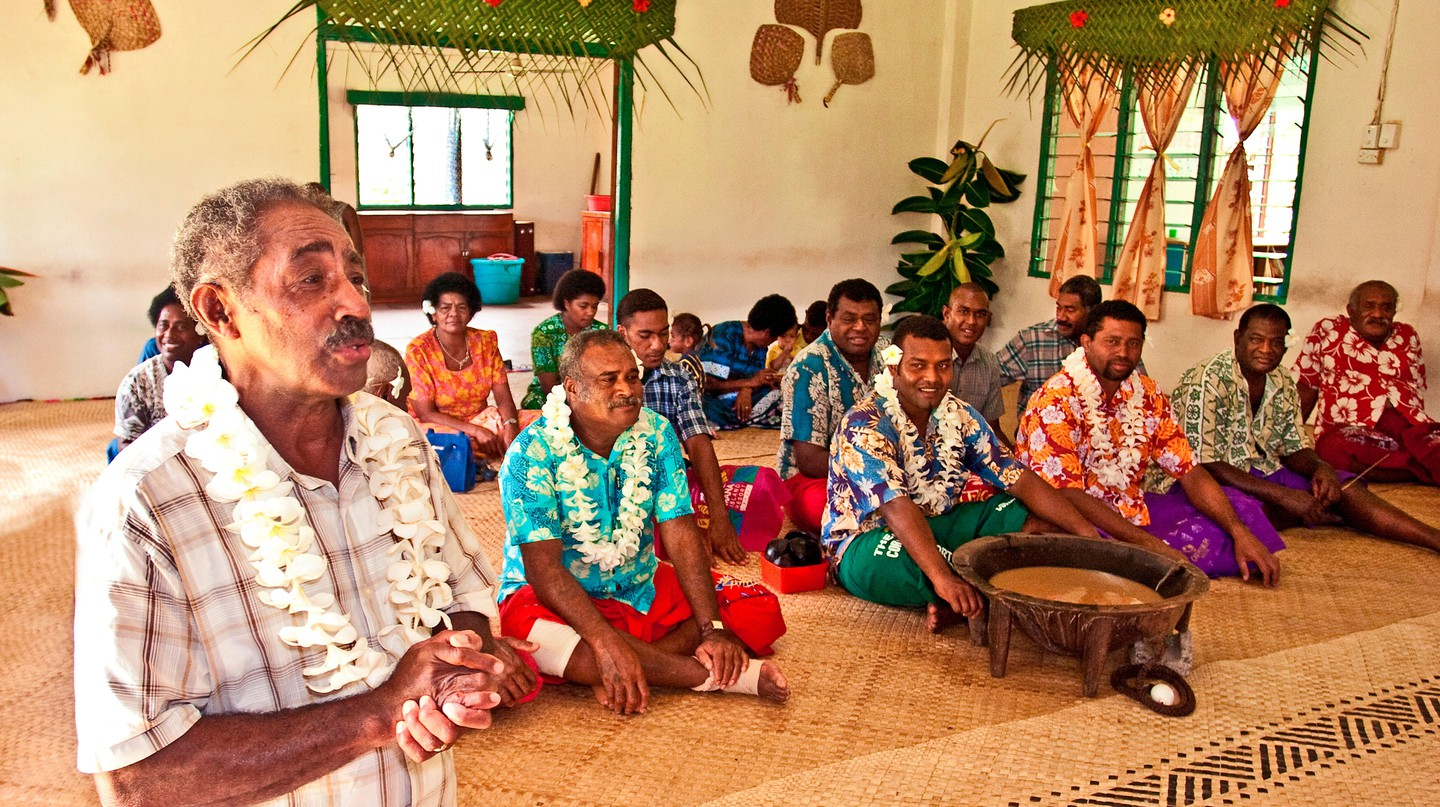 The traditional kava ceremony is an integral part of Fijian village culture
