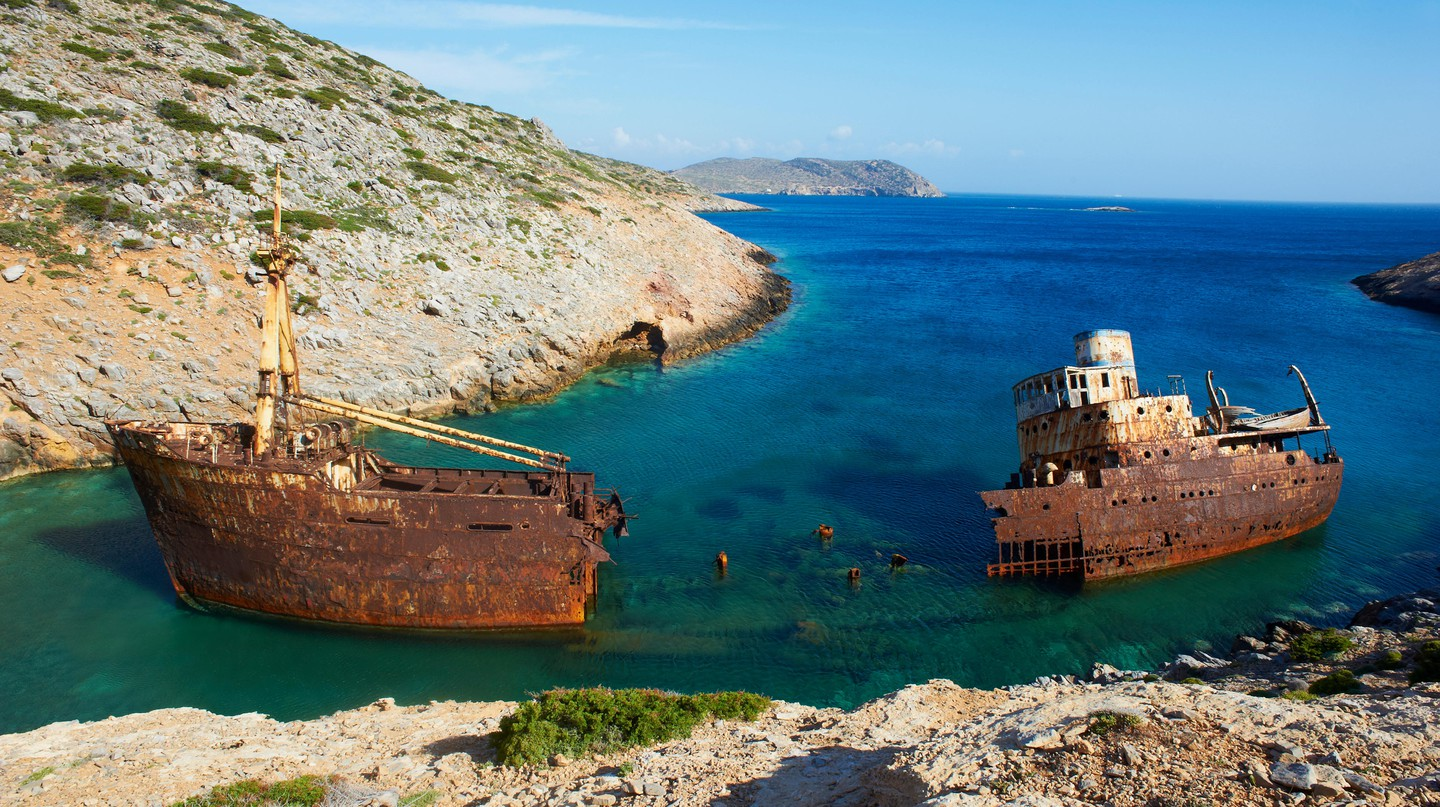 This wreck, off the coast of Amorgos Island in the Cyclades, Greece, featured in Le Grand Bleu (1988) by Luc Besson