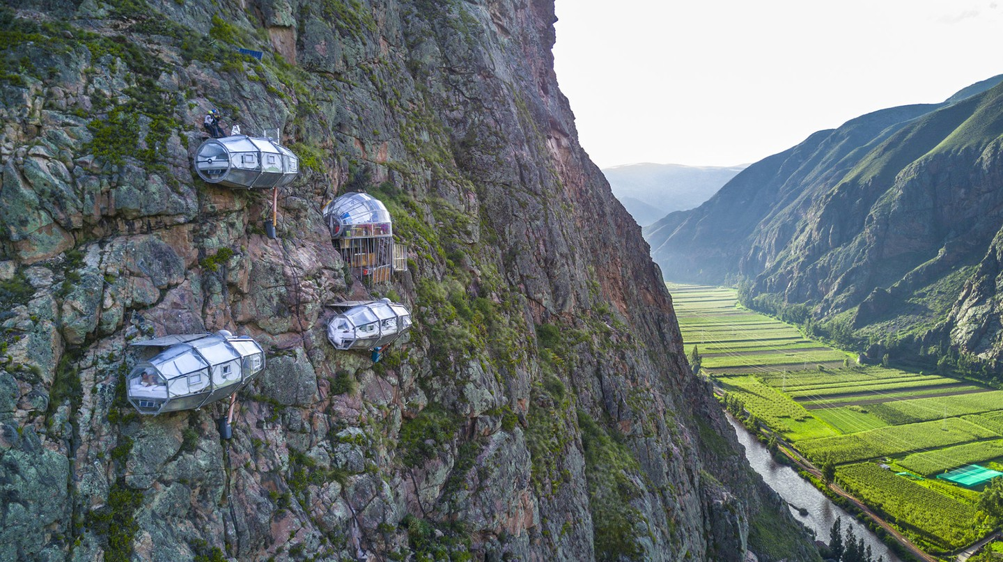 A stay at SkyLodge will have you waking up in a capsule suspended in the air attached to the sheer face of a mountain