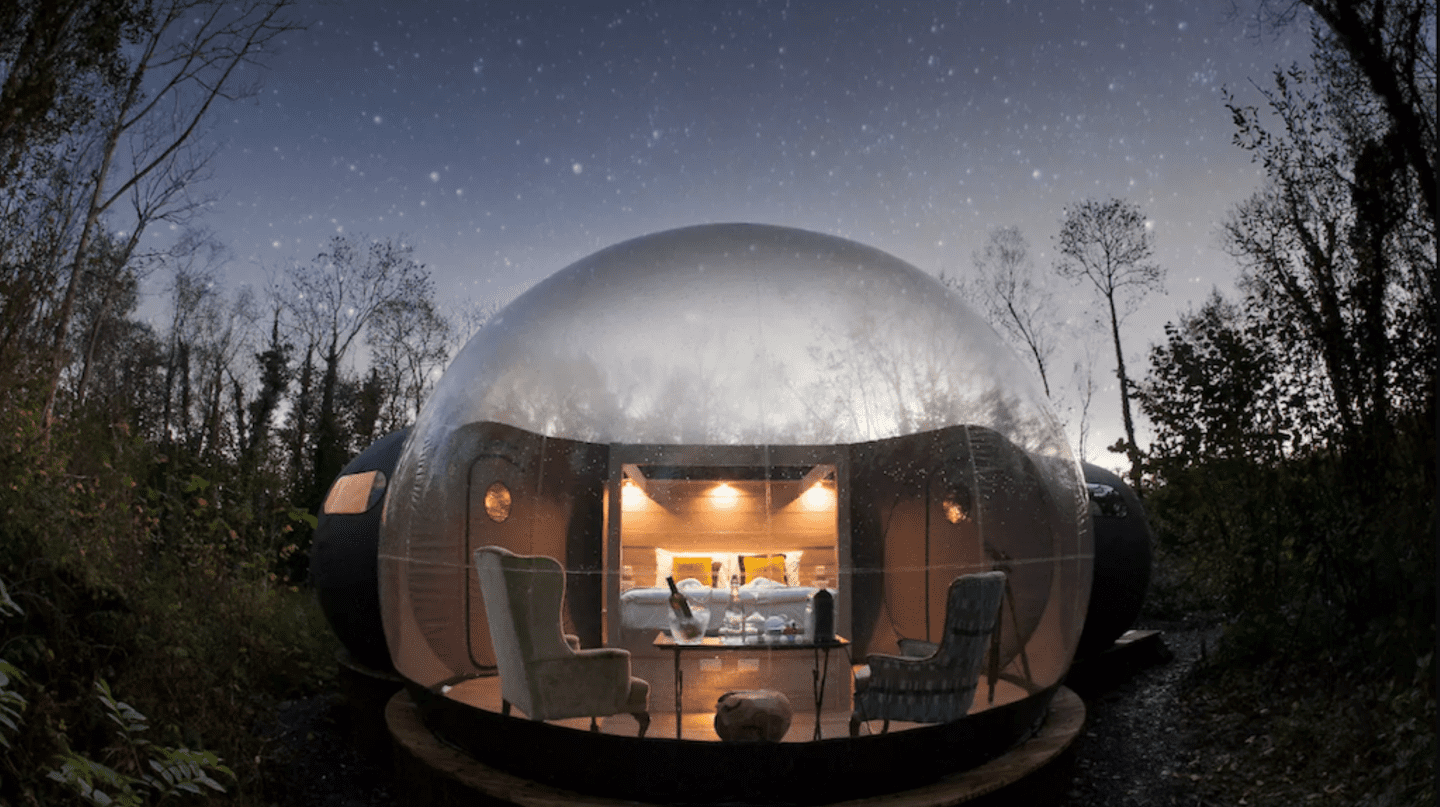 Enjoy a weekend in one of Finn Lough Resort's amazing Bubble Domes