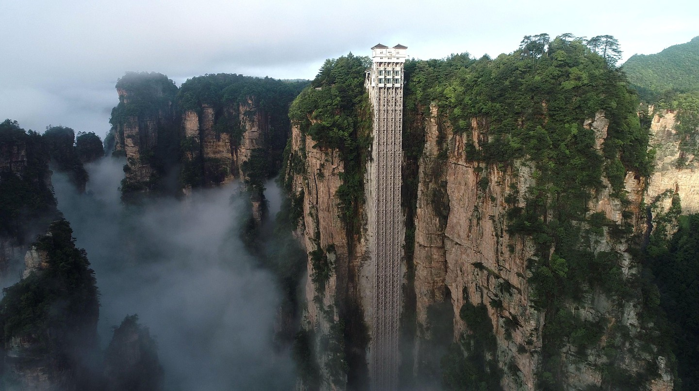 The heartstopping Bailong lift in Hunan, China, the world's tallest outdoor lift, is built into the side of a quartzite rockface