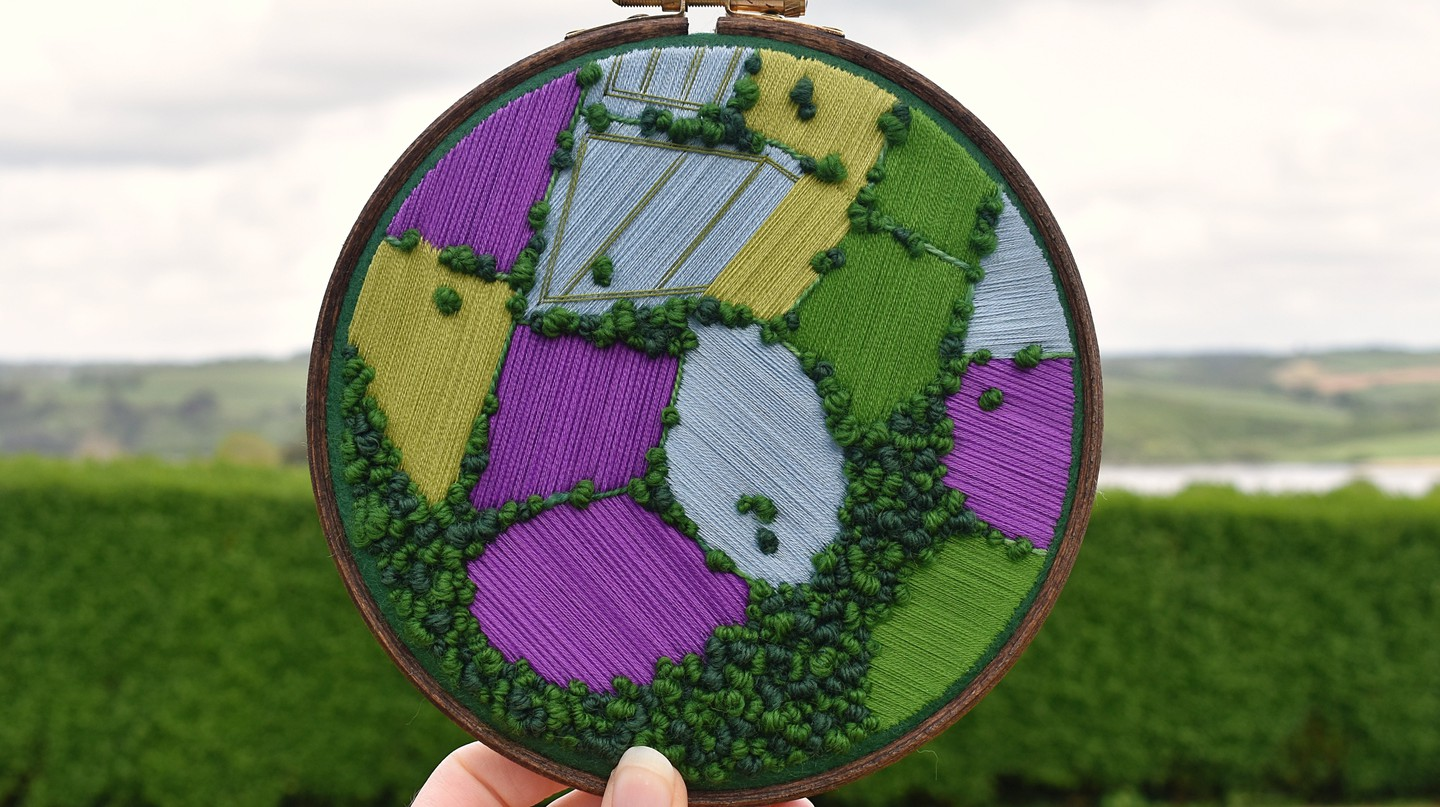 Victoria Rose Richards creates beautiful aerial embroidery scenes of the British countryside