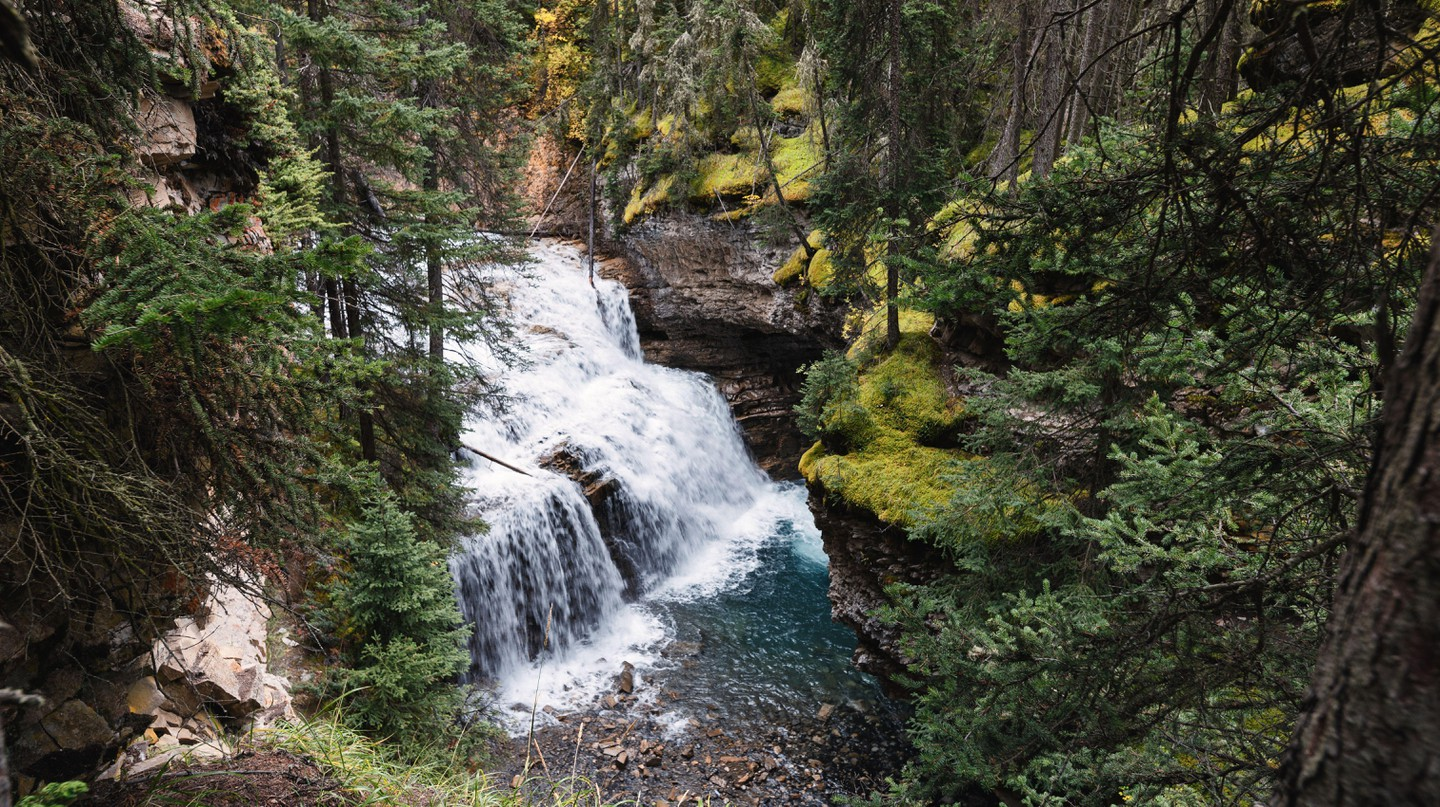 Even on rainy days, a walk through Johnston Canyon is scenic and enjoyable
