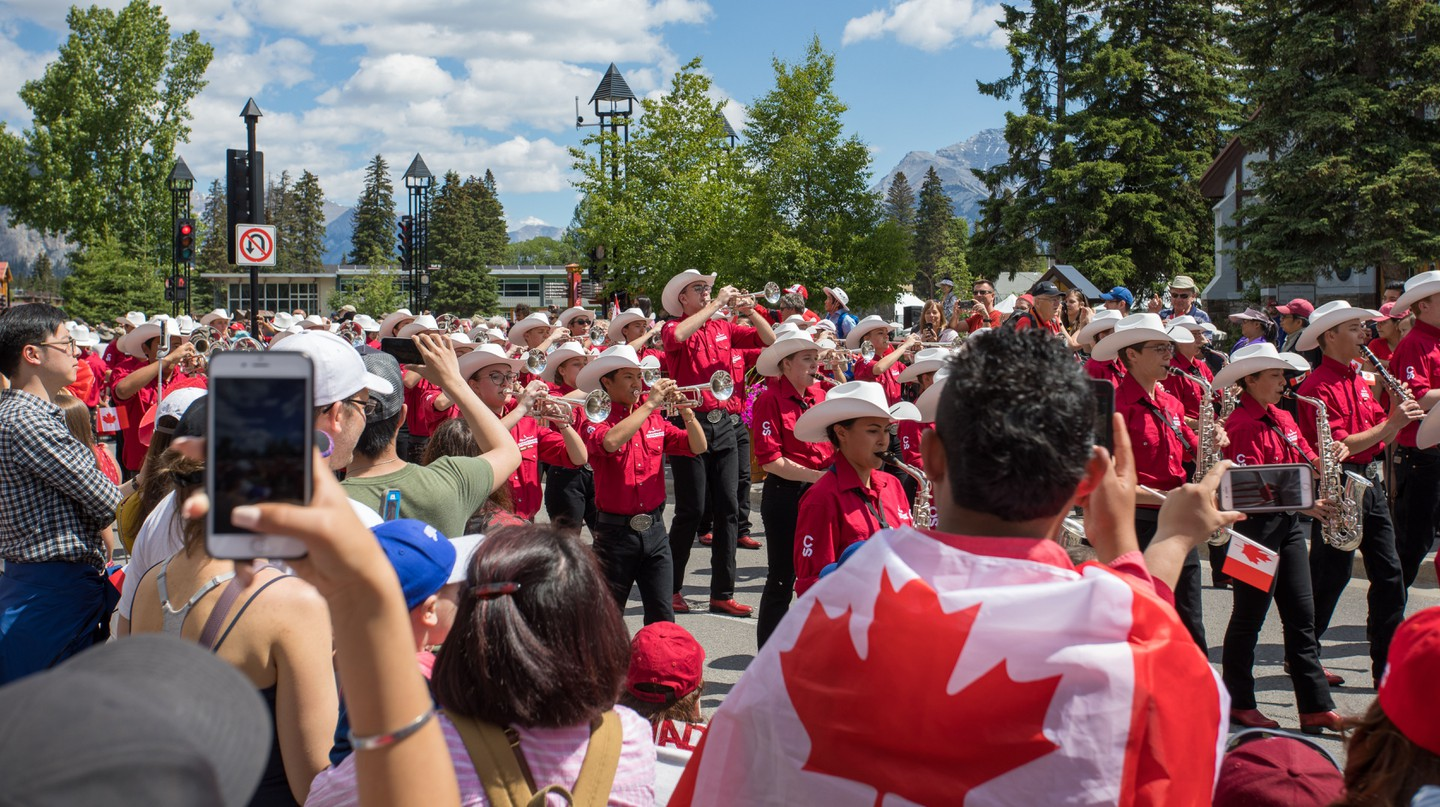 The Calgary Stampede Showband play during Canada Day celebrations in Banff