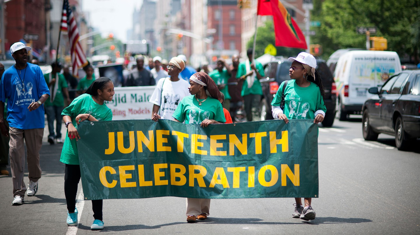 Juneteenth celebration parades – like this one, in Harlem, New York City – take place all over the country