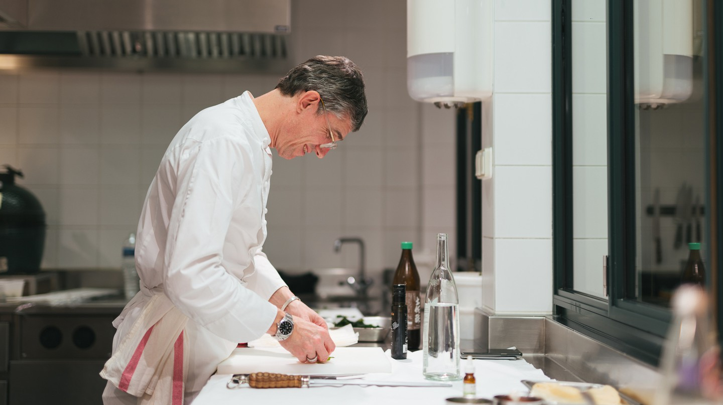 Chef Christophe Pele, at Le Clarence in Paris, took part in the worldwide GELINAZ!