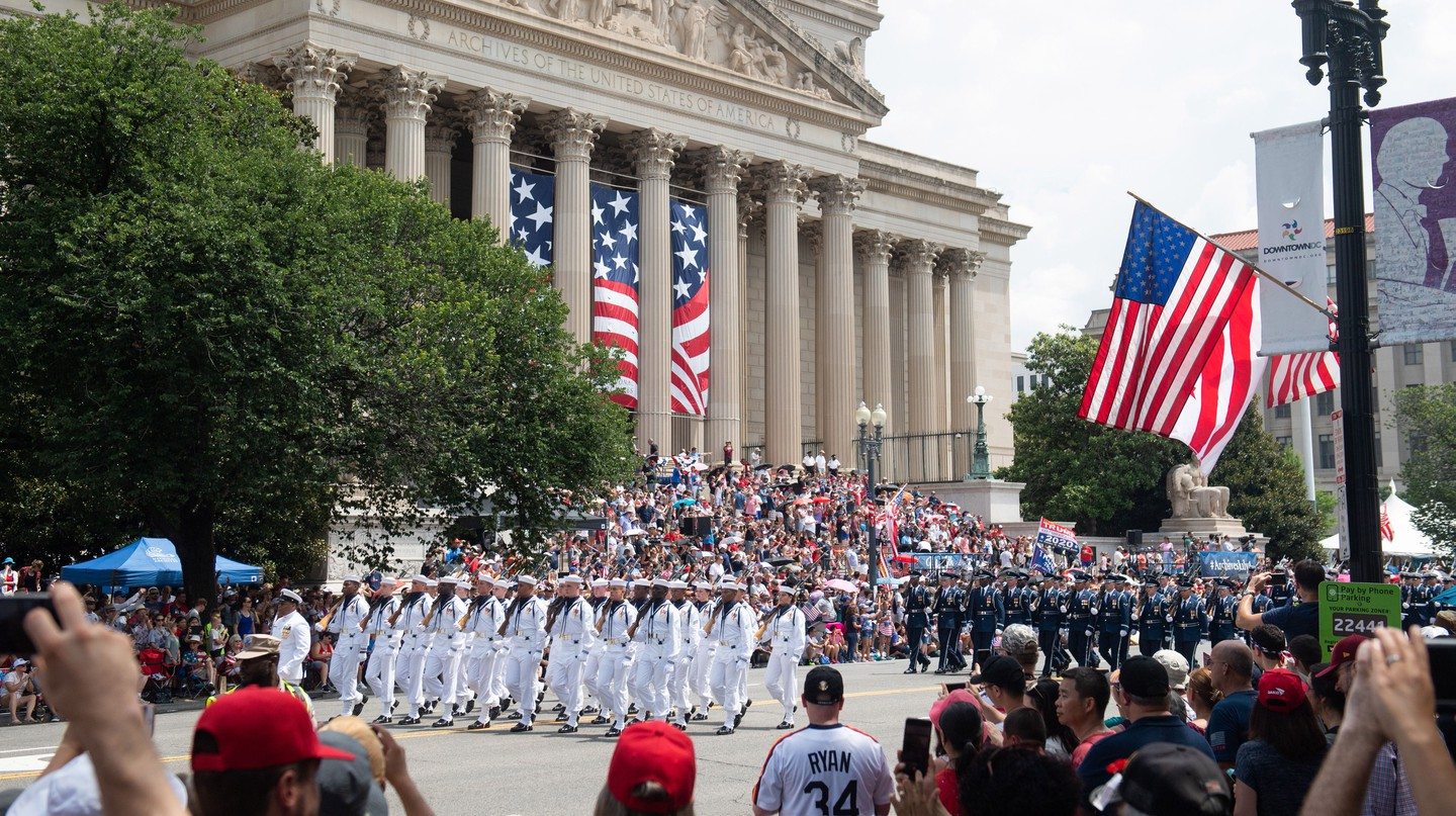 Members of the US military participate in the Fourth of July parade in Washington DC