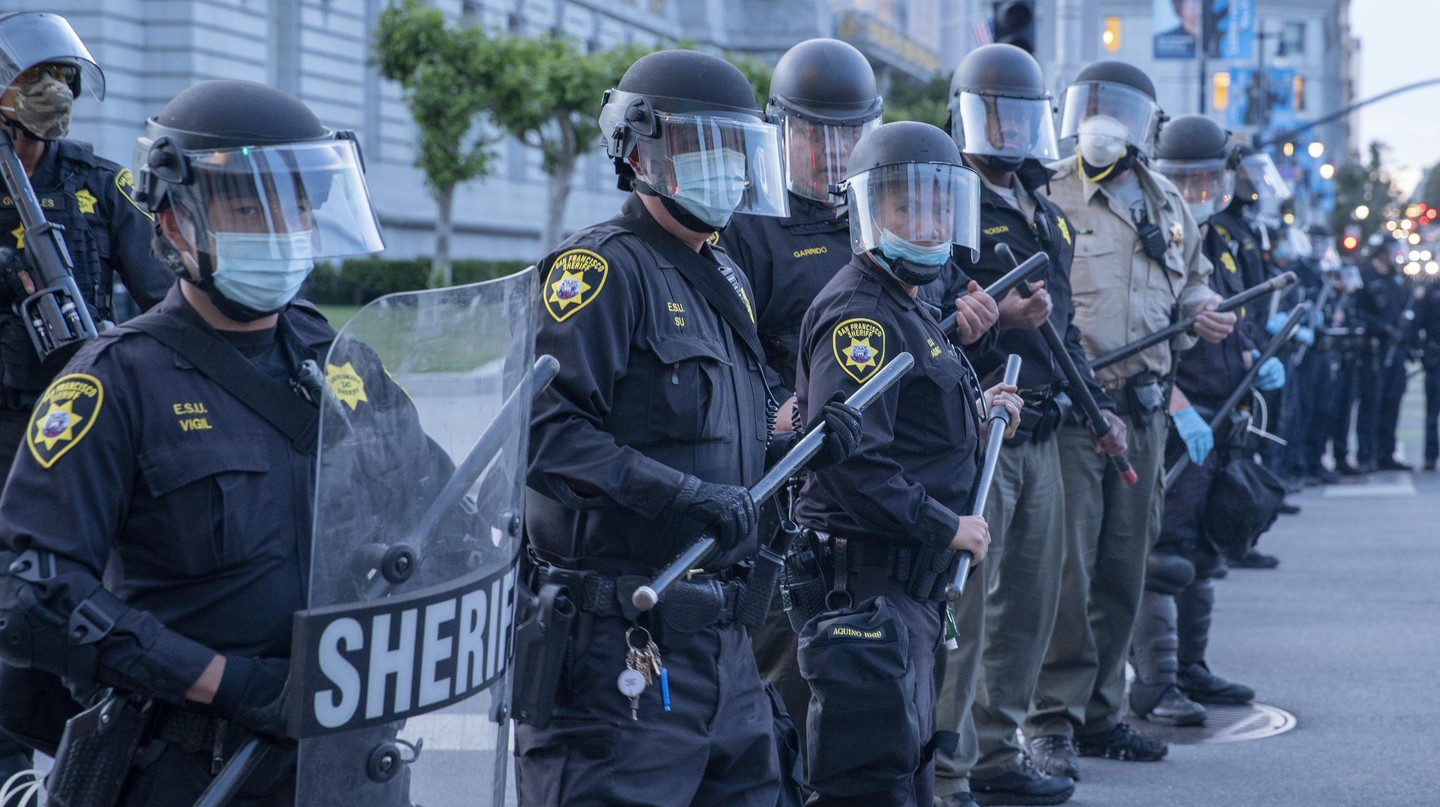 Police out in force during a protest in San Francisco on May 31, 2020, against the death of George Floyd four days earlier, in Minnesota