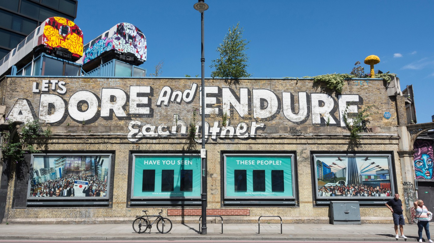 Lets Adore and Endure Each Other graffiti by Steven Powers in Great Eastern Street, London.