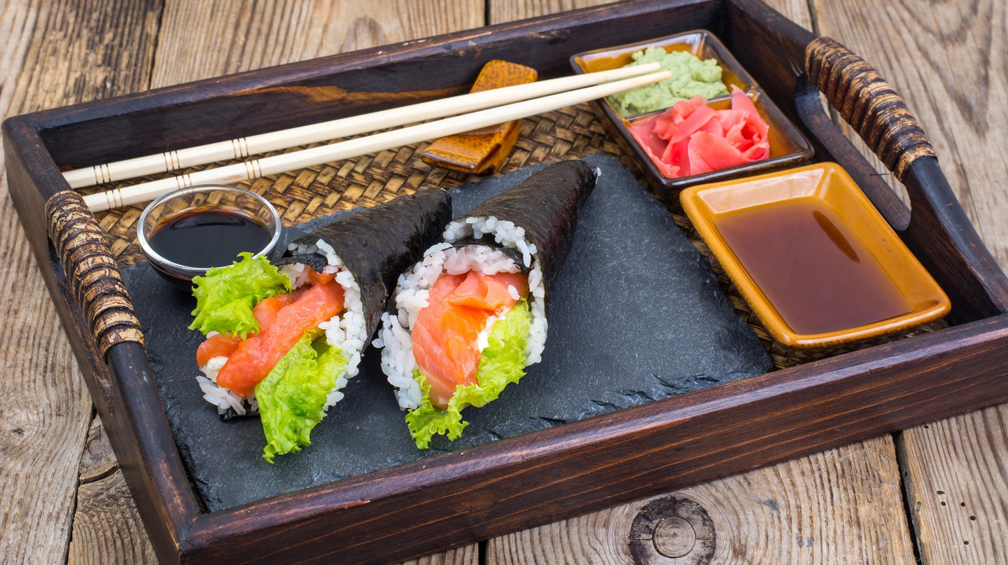 Salmon temaki sushi – served with ginger, soy and wasabi