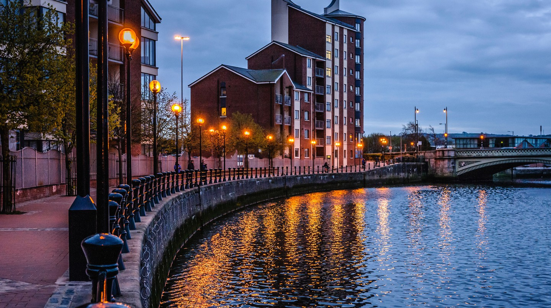 Laganside Walk, Belfast, during early evening