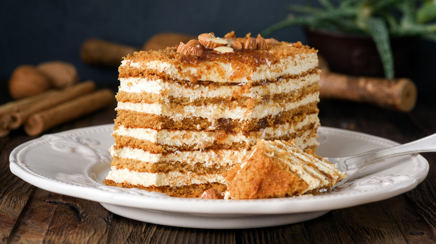 Enjoy traditional desserts like the creamy, buttery layers of napoleon or medovik, with its layers of dark, honey-flavoured sponge and sweet cream icing