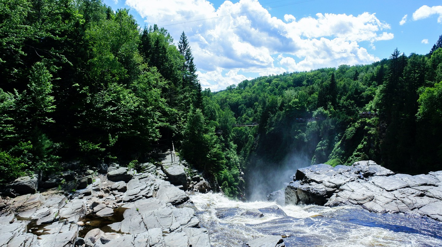 Impressive waterfalls can be found in the countryside surrounding Quebec City