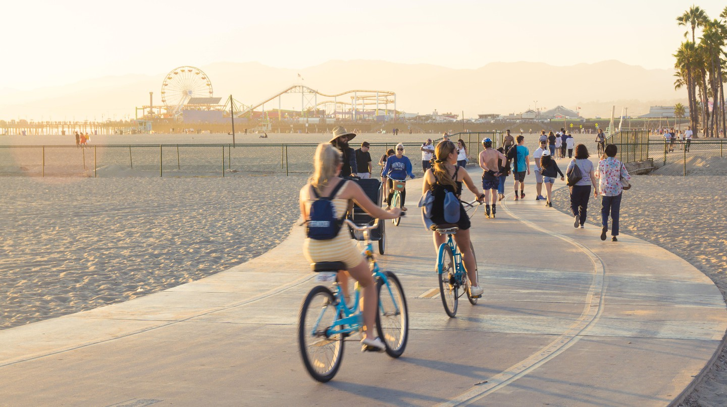 Biking along Santa Monica Beach is a favorite outdoor activity of Angelenos
